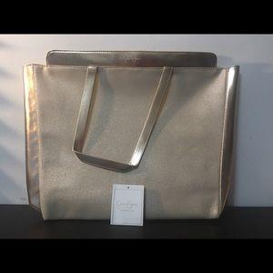 Jessica Simpson Gold Shoulder Tote Bag Large